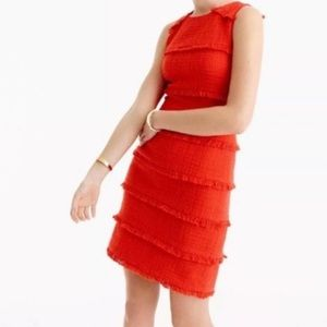 J.Crew Red Fringe Textured Tweed Sheath Dress
